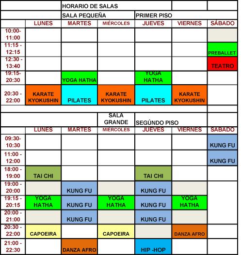 HORARIOS TALLERES 2014-1