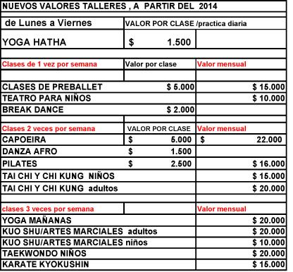 precios talleres 2014